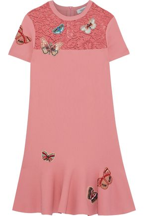 VALENTINO Appliquéd corded lace-paneled knitted mini dress