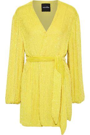 RETROFÊTE Sequined georgette mini wrap dress