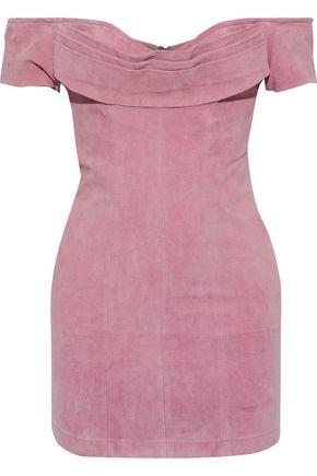 RETROFÊTE Hadley off-the-shoulder pleated textured-suede mini dress