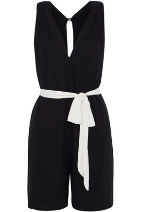 HALSTON Belted pleated crepe playsuit