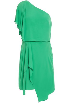 HALSTON One-shoulder draped crepe de chine mini dress