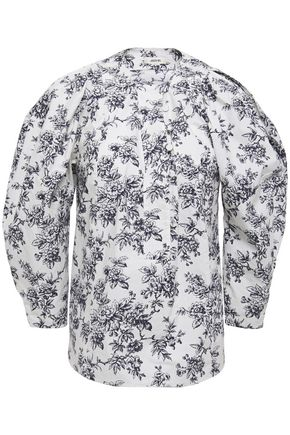JASON WU Gathered floral-print cotton-poplin blouse