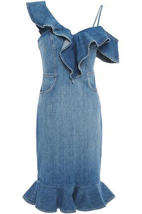 JONATHAN SIMKHAI Fluted ruffle-trimmed faded denim dress