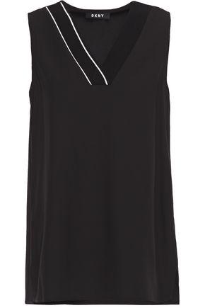 DKNY Striped stretch-crepe top