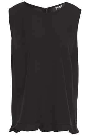 DKNY Ruffle-trimmed stretch-crepe blouse