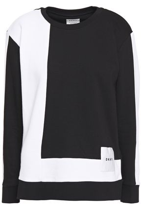 DKNY Color-block French cotton-blend terry sweatshirt
