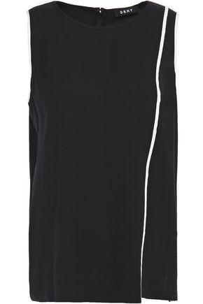 DKNY Asymmetric jersey-paneled crepe de chine top