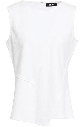 DKNY Asymmetric cotton-blend crinkled-jersey top