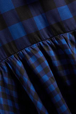 PAPER London Neli tiered gingham twill maxi wrap dress
