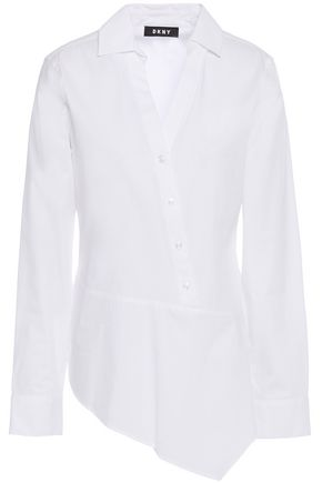 DKNY Asymmetric cotton-blend poplin shirt