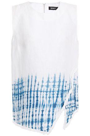 DKNY Asymmetric fringe-trimmed tie-dyed linen blouse