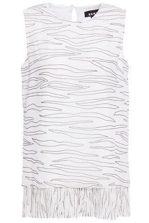 DKNY Ruffled printed chiffon top