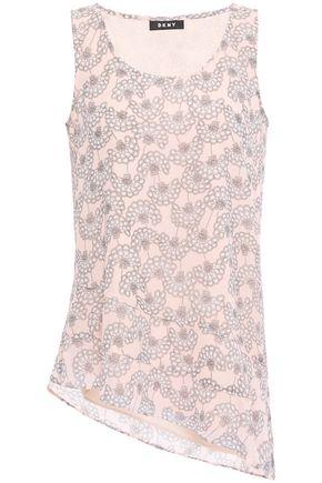 DKNY Asymmetric floral-print crepe de chine blouse