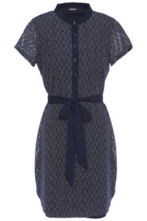 DKNY Belted polka-dot cotton-blend guipure lace mini dress