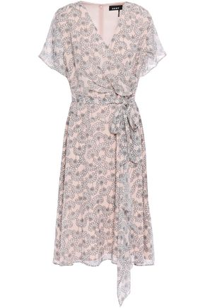 DKNY Draped wrap-effect floral-print georgette dress
