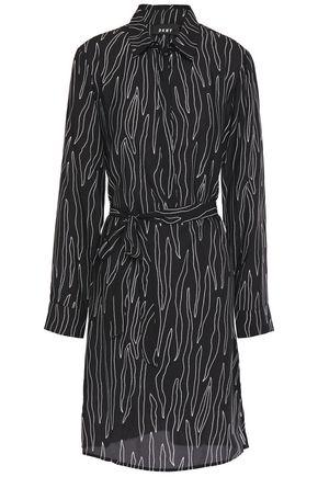 DKNY فستان قصير على شكل قميص من الكريب المطبع برسومات