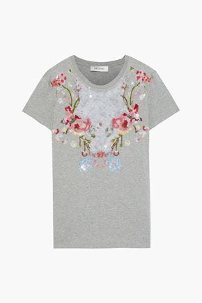 VALENTINO Embellished mélange cotton-jersey T-shirt