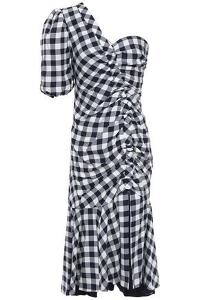 JONATHAN SIMKHAI One-shoulder gathered gingham jacquard dress