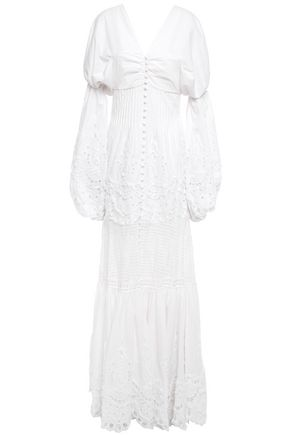 JONATHAN SIMKHAI Off-the-shoulder gathered broderie anglaise cotton gown