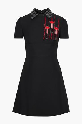 VALENTINO Embellished wool and silk-blend cady mini dress
