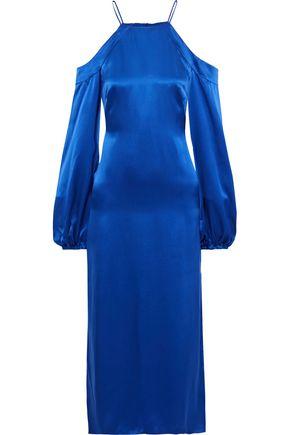AMUR Francine cold-shoulder silk-satin midi dress