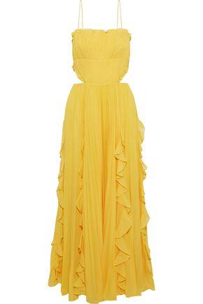 """AMUR فستان سهرة """"راينا"""" من الشيفون مع طيات مزين بالكشكش مع أجزاء مقصوصة"""