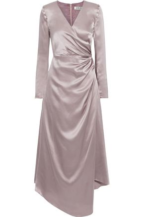 AMUR Iris wrap-effect silk-charmeuse midi dress