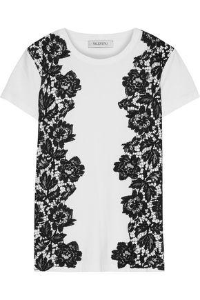 VALENTINO Corded lace-paneled cotton-jersey T-shirt