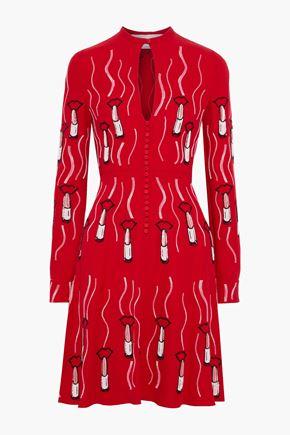 VALENTINO 装飾付き ベルベットトリム シルククレープ ミニワンピース