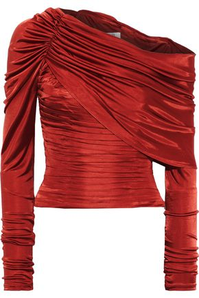 AMUR Off-the-shoulder layered pleated satin-jersey top