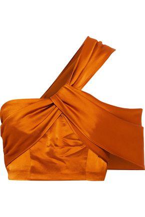 AMUR Xena off-the-shoulder twist-front hammered-satin top