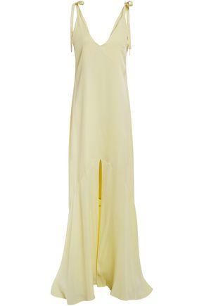 LES HÉROÏNES by VANESSA COCCHIARO Bow-detailed satin-crepe slip dress