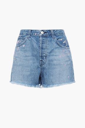J BRAND Frayed printed denim shorts