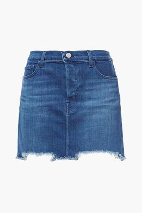 J BRAND Bonny frayed faded denim mini skirt