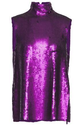 TIBI Sequined silk crepe de chine turtleneck blouse