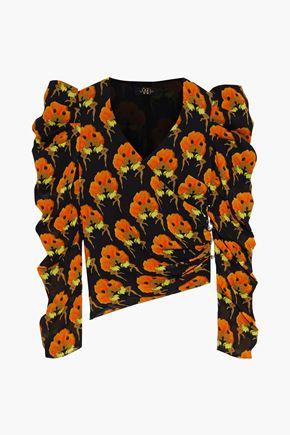 DE LA VALI Gin wrap-effect ruched printed crepe blouse
