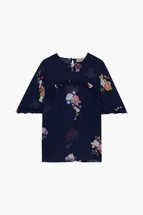 PREEN LINE Blake ruffle-trimmed floral-print georgette top