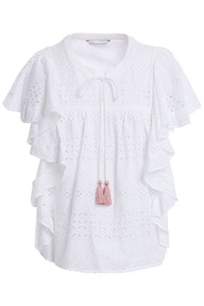 REBECCA MINKOFF Caro ruffled broderie anglaise-cotton top