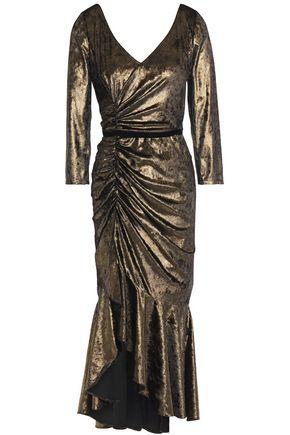 MARCHESA NOTTE Asymmetric ruched metallic velvet midi dress