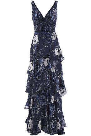 MARCHESA NOTTE Tiered metallic devoré-velvet gown