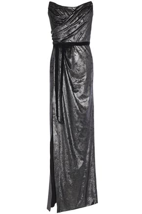 MARCHESA NOTTE Strapless bow-embellished ruched metallic velvet gown