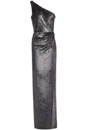 MARCHESA NOTTE One-shoulder ruched metallic velvet gown