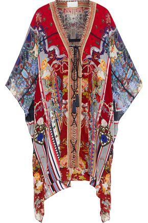 CAMILLA Costume Party lace-up embellished printed silk-chiffon mini dress