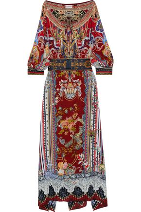 CAMILLA Costume Party embellished printed washed-silk maxi dress