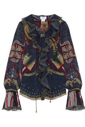 CAMILLA Lace-up ruffled embellished printed silk-chiffon blouse