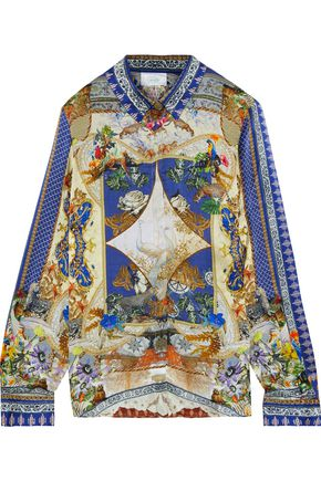 CAMILLA Crystal-embellished printed silk-satin shirt