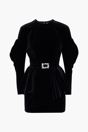 ALEXANDRE VAUTHIER Buckle-embellished cotton-velvet peplum mini dress