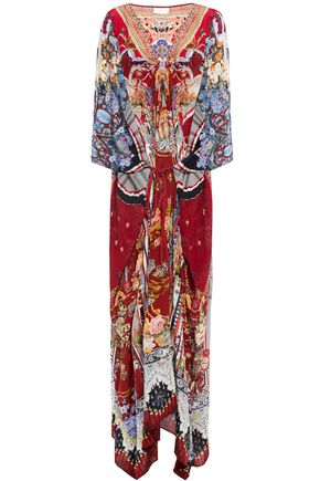 CAMILLA Tie-front embellished printed silk crepe de chine kaftan