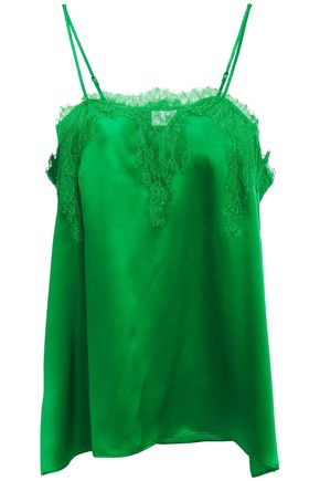 CAMI NYC The Sweetheart Chantilly lace-trimmed silk-charmeuse camisole