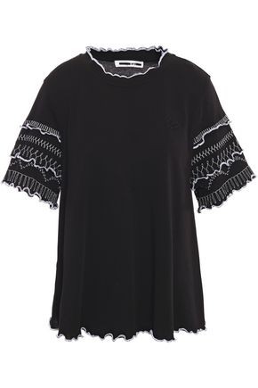 McQ Alexander McQueen Ruffle-trimmed embroidered cotton-jersey top